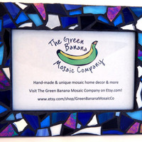 """Mosaic Picture Frame, 4"""" x 6"""", Shades of Blue + Silver Mirror + Iridescent Stained Glass, Handmade Mosaic Design"""