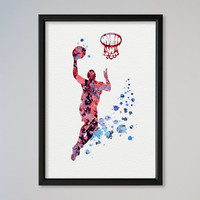 Basketball Player FRAMED Watercolor Print Sport Baseball Michael Jordan illustration Art Poster Kid's Room decor Giclee Wall Decor
