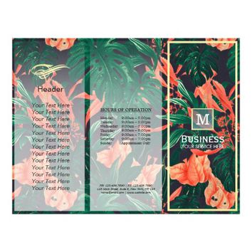 Tri-Fold Brochures Beauty Salon Floral Gold Frame