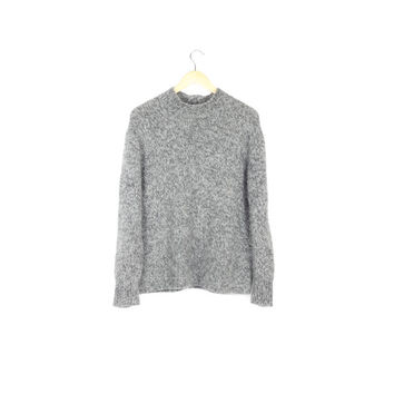 cozy gray angora lambswool sweater / SOFT! / minimal / pullover knit / minimalist / plain / basic / winter / rustic / outdoors / medium