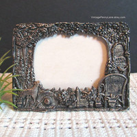 Vintage Minature Silver Plated Pewter Picture Frame by SILVER SCENES, Gardening Theme