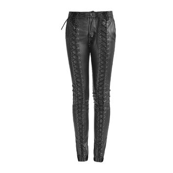 Gothic Women Strap Leather Pants Steampunk Lace-up Casual Trousers Exaggerated Skinny Pants
