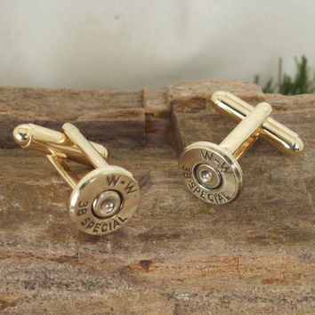 Bullet Cufflinks 38 SPL Ultra Thin by ShellsNStuff on Etsy