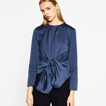 POPLIN TOP WITH KNOT DETAILS