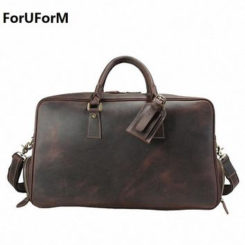 Vintage Crazy Horse Genuine Leather Travel bag men duffle bag luggage travel bag Large Weekend Bag Overnight Tote LI-1828