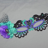 Day of the Dead Black Soft Lace Mask with Teal and Purple Accents and Pewter Skull - Dia de los Muertos - Made to Order