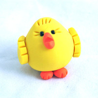 Baby CHUBBY CHICK - Polymer Clay Animal Totem Figurine or Ornament