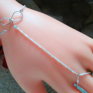 Sterling Silver Slave Bracelet, Jewelry, Hand Chain, Hand Harness, Infinity Ring ,Ring Bracelet, Hand Jewelry ,Bowtie,Sexy