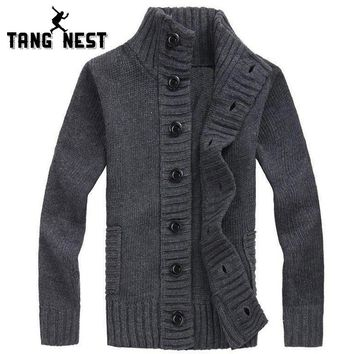 TANGNEST Warm Cardigan Men 2017 Hot Sale Autumn Casual Fashion Men Sweater Four Solid Colors Single Breasted Pull Homme MZM508