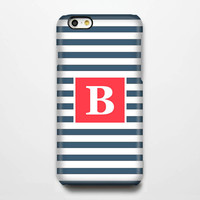 Navy Stripes Monogram iPhone 6 Plus 6 5S 5C 5 4 Protective Case #957
