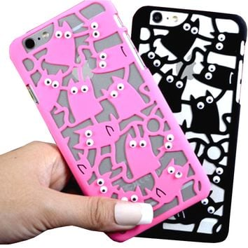 Hollow Moving Eyes Cat Phone Case
