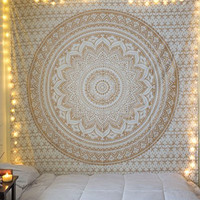"""Exclusive """"Twin Golden Ombre Tapestry """" Ombre Bedding , Mandala Tapestry, Multi Color Indian Mandala Wall Art Hippie Wall Hanging Bohemian Bedspread"""