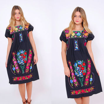 Vintage MEXICAN Dress Black EMBROIDERED Ethnic Hippie Dress Boho Festival Dress Tent Dress Mini Dress