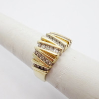 Virtically Channel set Diamond  Gold Retro Statement Ring