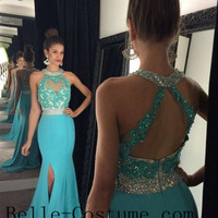 Halter Long Prom Dresses, Open Back Prom Dresses, 2016 Evening Dress