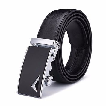 Black Leather Belt with Black & Silver Stylish Buckle
