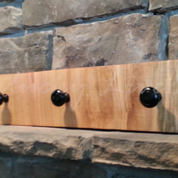 Narrow Wooden Coat Rack, Natural Edges, Reclaimed Wood, Live Edge Coat Rack, Black Hooks, Sustainable Ambrosia Maple, Simple and Sleek