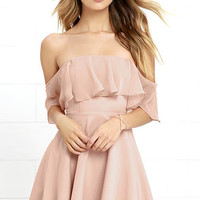 Flutter On By Nude Off-the-Shoulder Skater Dress