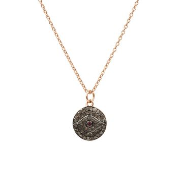 Diamond   Ruby Evil Eye Necklace Rosegold 79ace4323e