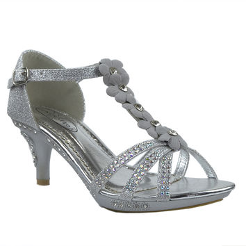 Girls Flower T-Strap High Heel Sandals Silver