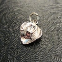 Tiny Sterling Silver 3D Cowboy Hat Charm 1.35g