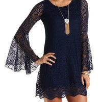 Long Sleeve Lace Shift Dress by Charlotte Russe