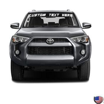 Custom Text Windshield Banner Vinyl Decal - Fits Toyota 4Runner