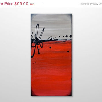 ON SALE.. Small Original Abstract Painting - Canvas Acrylic Wall Art-  Bright Red and Tan, Beige -Vertical 12 x 24: True Love -FREE Shipping