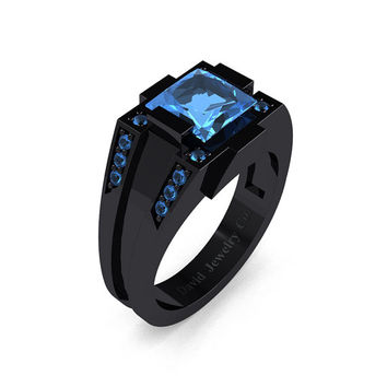 Mens Modern 14k Black Gold 2.0 Carat Princess Blue Topaz Wedding Ring R1020M-14KBGBT