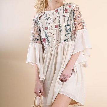 Angel Sleeve Floral Embroidered Dress - Natural