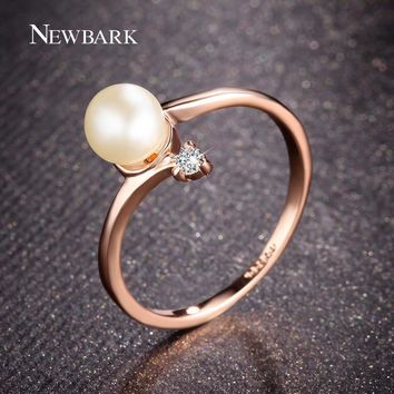 Rose Gold Color 1Pcs Simulated Pearl And Tiny Rhinestones Ring