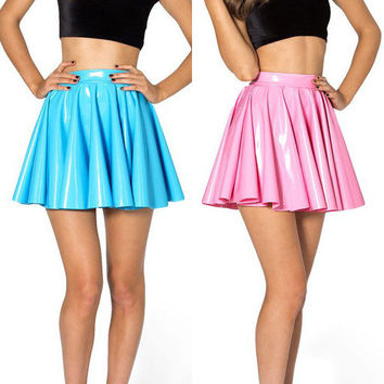 PVC Vinyl Skater Circle Skirt - Leather, Latex - Black, Red, Pink, Yellow, Purple etc - Any size
