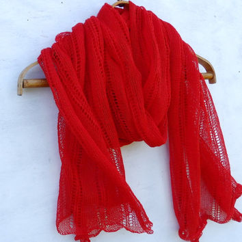 knitted linen scarf, knit lace red scarf, knitting women shawl, stola, handmade accessories,  natural summer wrap, linen  shrug