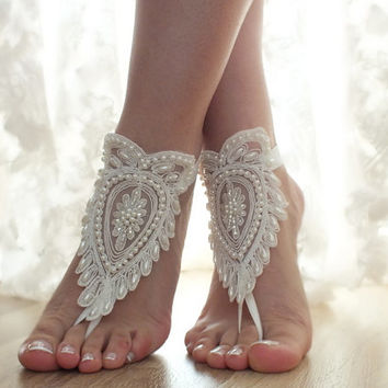Free Ship ivory, pearl embroidered laceBarefoot Sandals, french lace, Beach wedding barefoot sandals