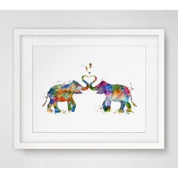 Valentine's Day Gift Art Print Elephant Watercolor Fine Valentine Gift Painting Elephant Watercolor Wall Hanging Elephant Love A