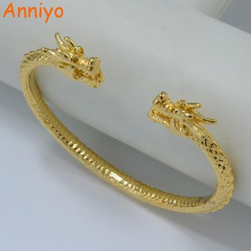 Anniyo Dragon Bracelet For Men Gold Color Bangle Woman Mascot Jewelry Animal Guyana Bangle African Party Gift #004510