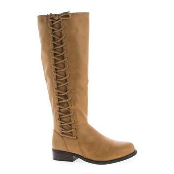 Pilot17 Tan by Bamboo, Knee High Corset Lace Faux Wooden Heel Riding Boots