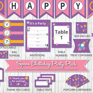 Space Themed Birthday, Printable Party Pack, DIY, Banner, Invitation, Favors, Cupcake Toppers, Decor, Astronaut, Planets, Solar System, Pink