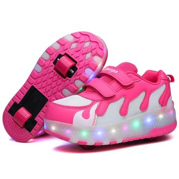 Kids Double Wheel Roller LED Sneakers Luminos Shoes Mesh Flashing Heelys Children Fashion Pulley Roller Glowing Sneaker Boy Girl