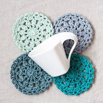 Crochet coaster crochet trivet doily coaster set of 4 cotton coaster round drink coaster pot holder cup mug coaster green mint kitchen decor