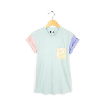 Cotton Candy - Women's Hand STENCILED Color Block Polka Dot Crew Neck Rolled Cuffs Pocket Tee in Pastel Rainbow - S M L XL 2XL