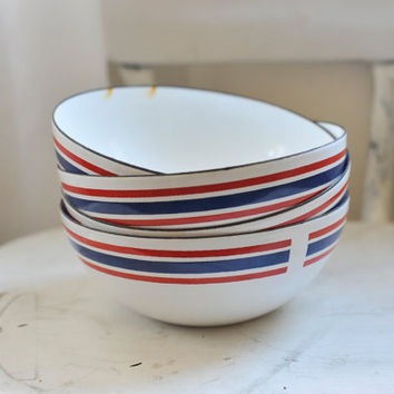 Four Vintage Celebration Club Made in Norway Red, White and Blue Enamel Bowls