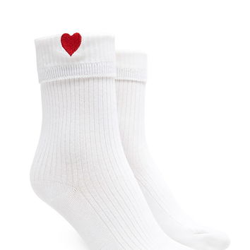 Heart Graphic Crew Socks