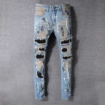 France Style #523# Mens Distressed Embellished Ribbed Stretch Moto Pants Biker Jeans Slim Trousers Size 28-42