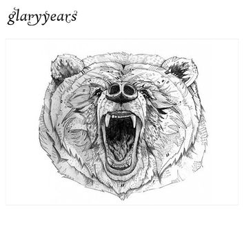 1 Sheet Temporary Inspired Body Tattoo Sticker KM-009 DIY Chest Waist Art for Women Indignation Bear Decal Tattoo Sticker Design