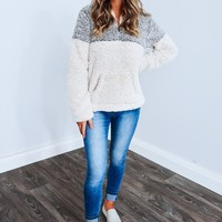 Snuggle Up Pull Over: Grey/Off White