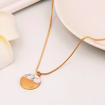 Gold Marble Pendant Necklace