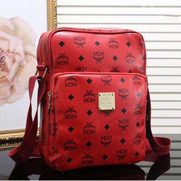 """MCM"" Fashion Women Men Briefcase Logo Letter Print Zipper Single Shoulder Messenger Bag Red I"