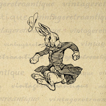 Printable Image Mr Rabbit Download Digital Antique Bunny Cartoon Illustration Graphic Artwork Vintage Clip Art HQ 300dpi No.1906