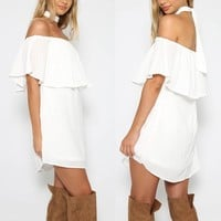 Off Shoulder Pure Color Irregular Short Dress